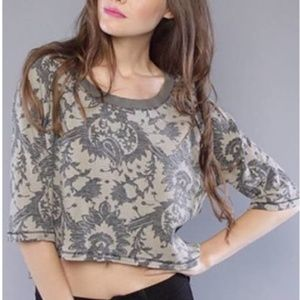 We The Free People Tan Paisley Thermal Crop Top S